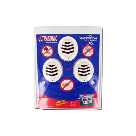 INSECTS AND MICE ULTRASONIC REPELLER PACK 3 FOR 45 M2