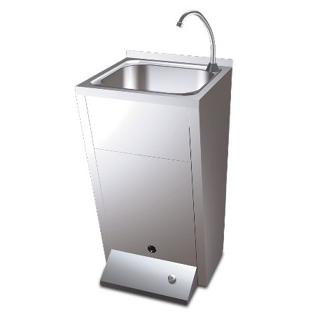 SEARCHABLE PEDESTAL SINK WITH A COLD AND HOT WATER BUTTON