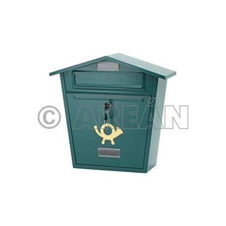 GREEN METAL MAILBOX FOR GARDEN