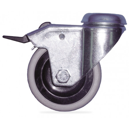 GALVANIZED WHEEL WITH RUBBER AND BRAKE ROLLING