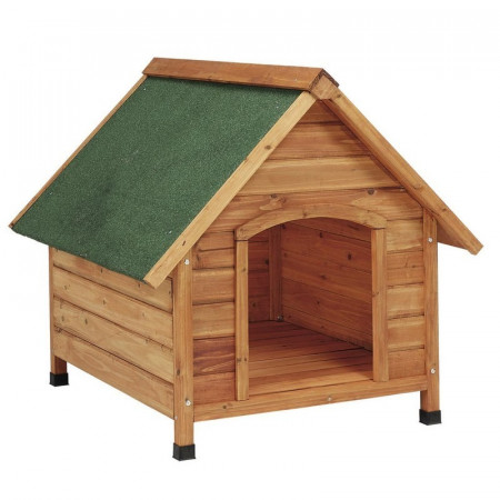 LARGE WOODEN HUT ROOFED DOG 2 WATERS
