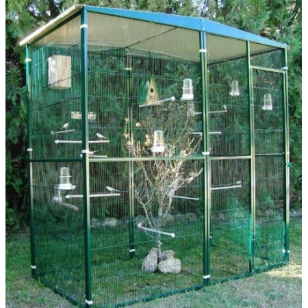 Modular aviary with a flat roof for canaries for Construire une voliere exterieur