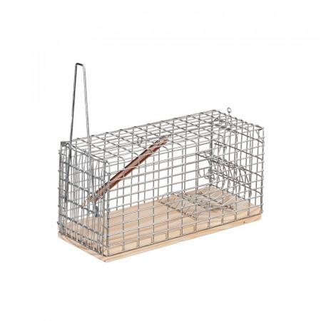 jaula de madera y malla metálica para captura de ratones vivos