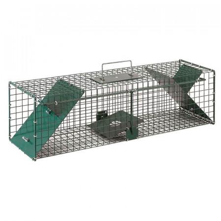 Jaula de color verde con dos puertas para atrapar ratas