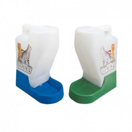 plastic cat feeder and drinking bowl set