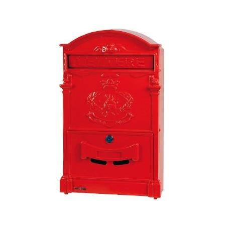 RED ALUMINUM MAILBOX FOR GARDEN