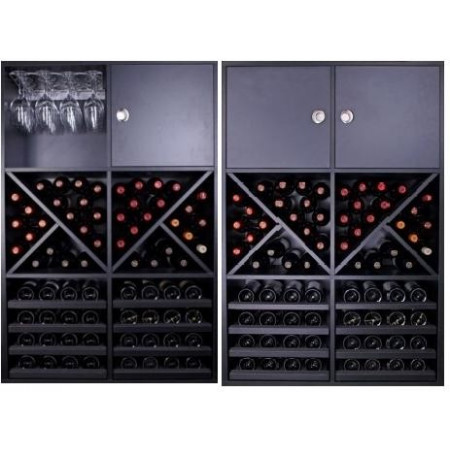 BOTTLE RACK MERLOT SUPER WITH CAPACITY 72 BOTTLES AND 16 CUPS