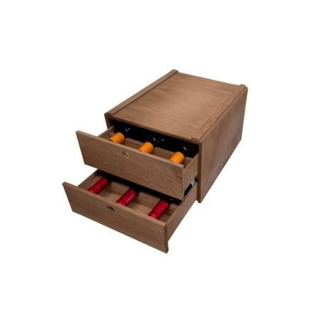 BOTTLE RACK BOX WITH 2 REMOVABLE DRAWERS FOR 6 BOTTLES