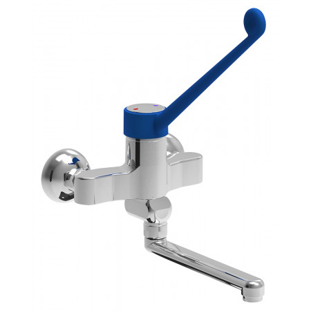 DOUBLE INLET ONE HANDLE WALL TAP ELBOW FUNCTIONNING LOW PROFILE MONOBLOCK MODEL