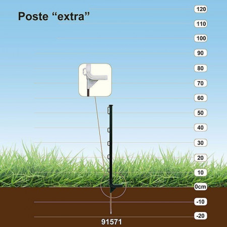 poste para pastor eléctrico con anillas.