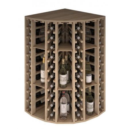 Oak wine rack for 40 bottles and 9 glasses