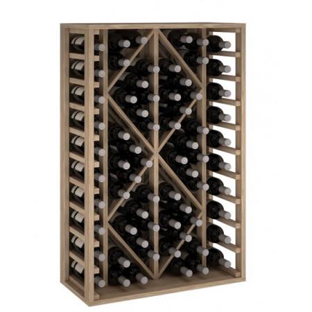 Oak wine rack for 68 bottles