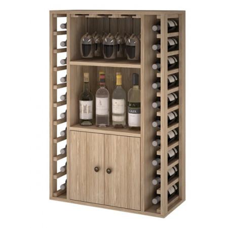 Casier à vin en chêne pour 20 bouteilles et 9 verres