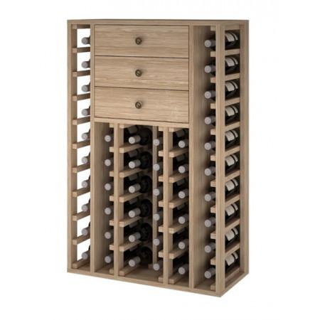 Botellero roble para 46 botellas con 3 cajones