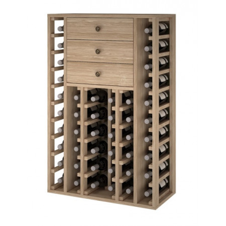 Oak wine rack for 46 bottles with 3 drawers
