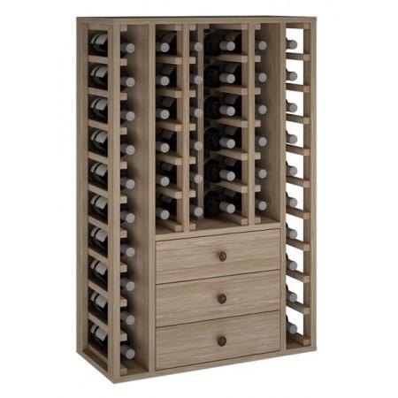 Casier à vin en chêne pour 46 bouteilles avec 3 tiroirs