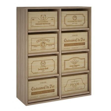 Oak wine rack for 8 boxes of 6 bottles.