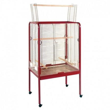 cage pour perroquets avec mangeoires, abreuvoirs.