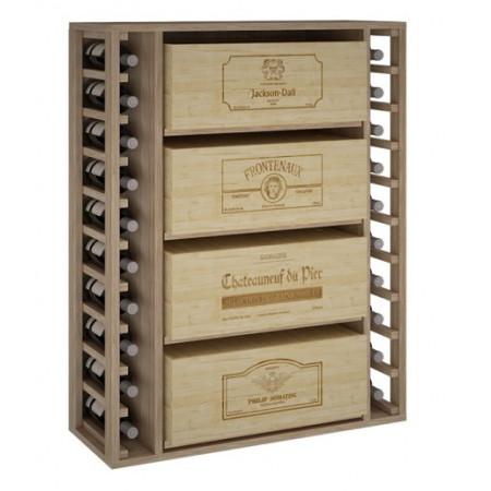 Bottle rack for 4 boxes of 12 bottles and shelf for 20 bottles