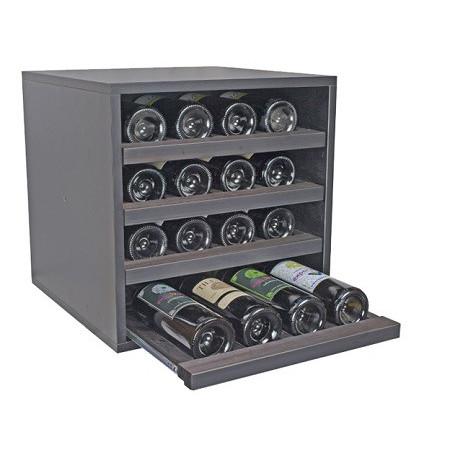 Black wine rack for 16 bottles