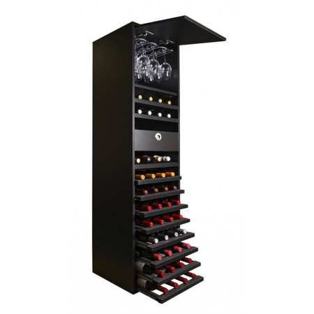 Black melamine bottle rack with shelves for glasses and 44 bottles