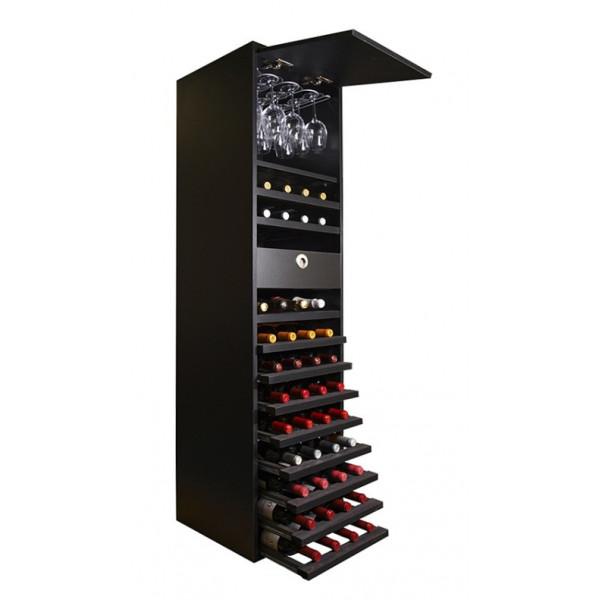 Black melamine bottle rack with shelves for glasses and 44 bottles