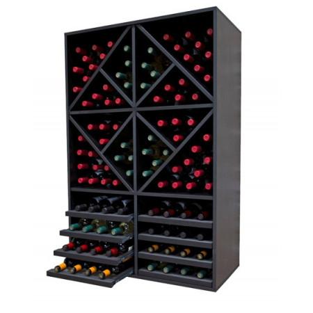 Capacité du casier à bouteilles noir pour 108 bouteilles