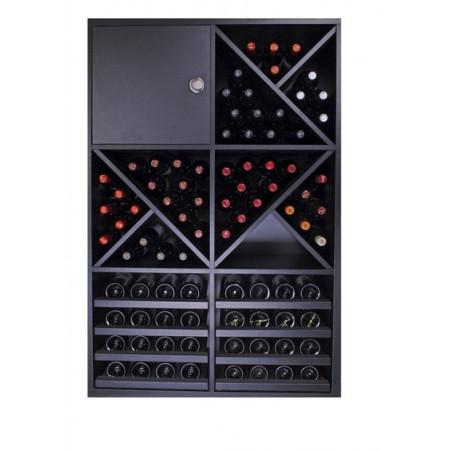 Black bottle rack capacity for 90 bottles