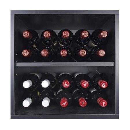 Black bottle rack with shelves for 20 bottles