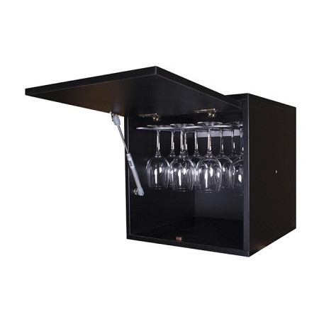 Black wine rack for 16 glasses