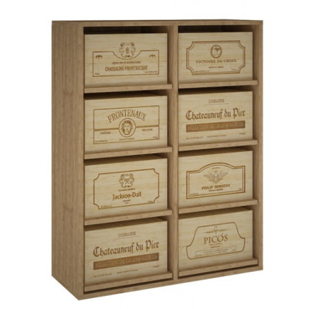 Pine bottle rack for 8 boxes with 48 bottles