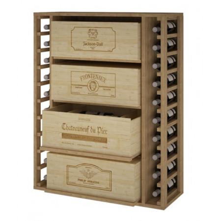 Casier à bouteilles en pin pour 20 bouteilles et 4 cartons de 12 bouteilles