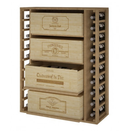 Pine bottle rack for 20 bottles and 4 boxes of 12 bottles