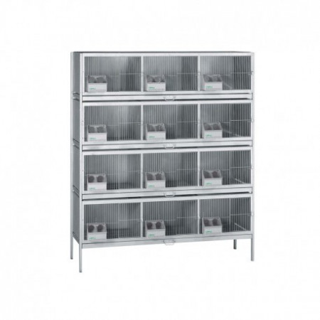 cage with 12 compartments for pigeons