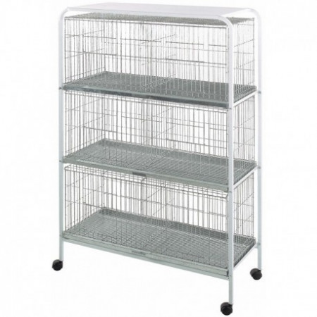 Mobile rack for 3 pigeon cages