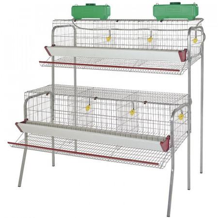 Baterias con diferentes departamentos para gallinas ponedoras