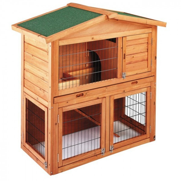 Two-deck wooden chicken coop