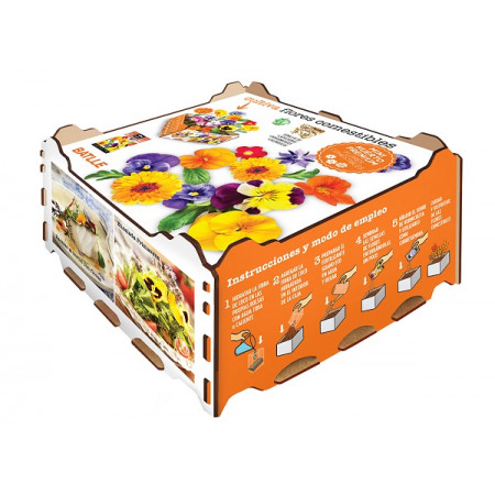box with edible flower seeds for recipes