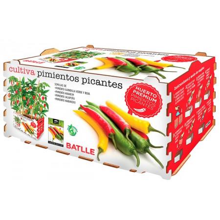 Caja con todo lo necesario para cultivar variedad de pimientos picantes