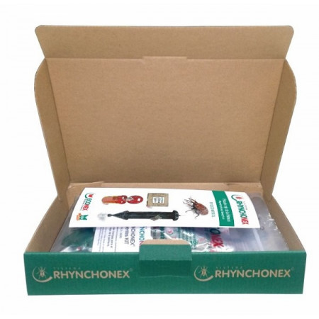 Box with pheromone and cairomone for the red palm weevil
